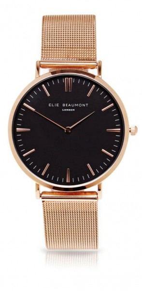 Oxford Large Mesh Black Dial/Rose Gold von Elie Beaumont